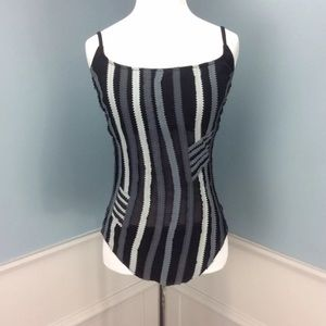 Gottex Colorblock Black White Gray Swimsuit